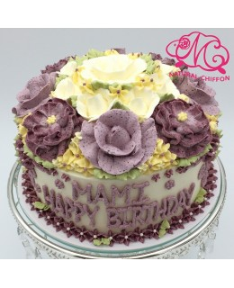 W034(c) 1層粉紫玫瑰深紫牡丹花球 約2磅(7吋)