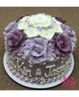 W034 1層深淺紫玫瑰花球 約2磅(7吋)
