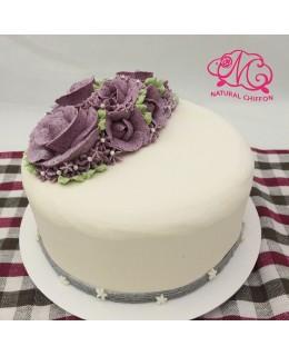 W043(a) 1層紫玫瑰蛋糕 約2磅(7吋)