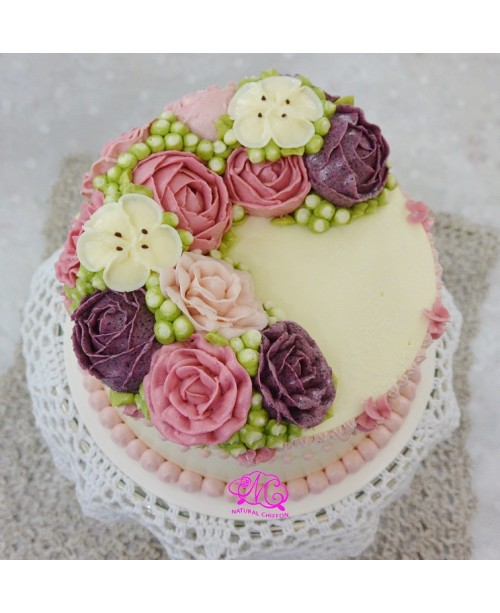 W045 1層韓花蛋糕 約2磅(7吋)