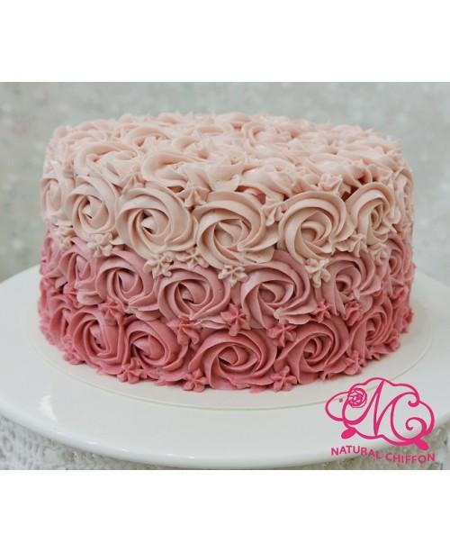 W048 1層漸變粉紅玫瑰蛋糕 約2磅(7吋)
