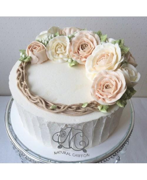 W049 1層韓花蛋糕 約2磅(7吋)
