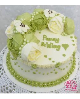 W051 1層綠韓花蛋糕 約2磅(7吋)