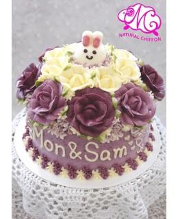 W050 1層公仔紫色花球蛋糕 約2.5磅(7吋)